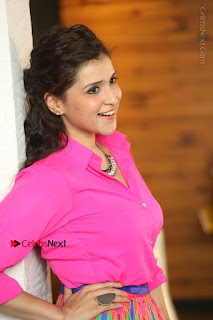 Actress Mannar Chopra in Pink Top and Blue Skirt at Rogue movie Interview  0152.JPG