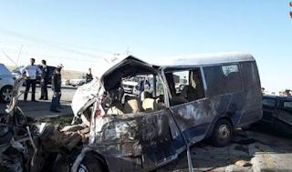 حادث باص مع مسيدس مع شاحنة القطرانه