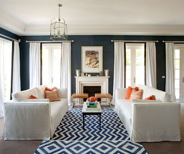 navy and orange decorating living room