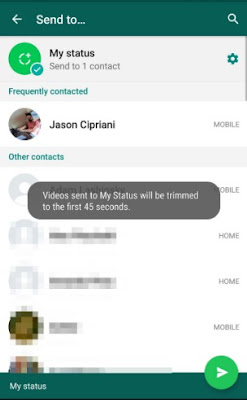 How to use whatsapp snapchat status feature