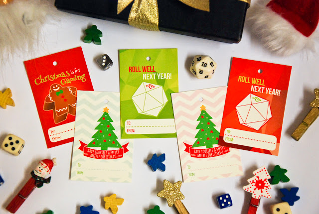 Boardgame-themed Christmas gift tags