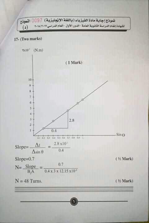 نموذج اجابة امتحان الفيزياء باللغة الانجليزية للصف الثالث الثانوي لغات 2018 بتوزيع الدرجات 0%2B%25288%2529