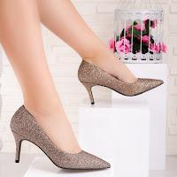 Pantofi cu toc dama champagne glitter Nacesia