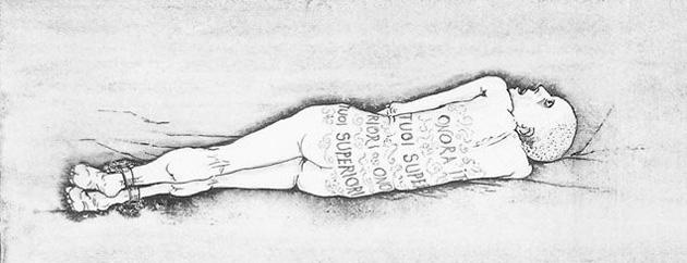 Σχέδιο του Μπρούνο Καρούζο, εμπνευσμένο από διήγημα