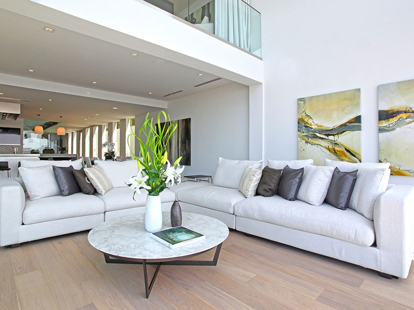 Living room in Sharp modern home on Sunset Strip