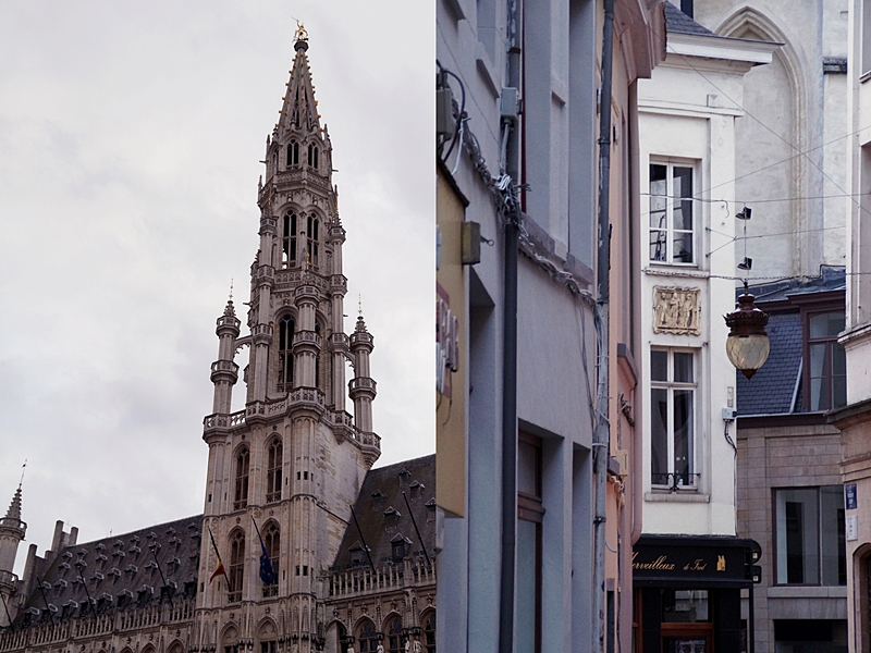 Brüssel: Grand Place/ Groote Markt in der Innenstadt und Rathaus