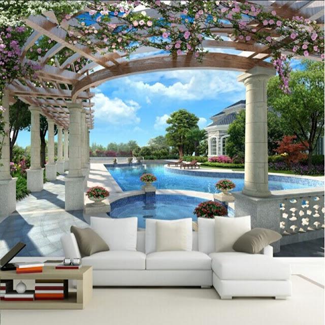 Garden Wall Mural Pool