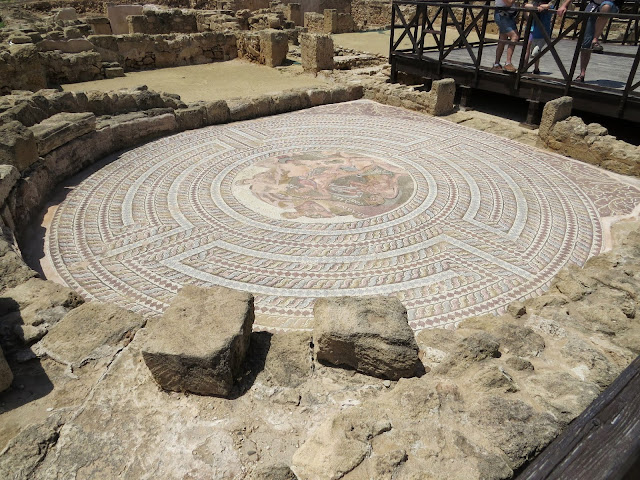 Cyprus Road Trip: circular mosaic at Paphos Archaeological Park