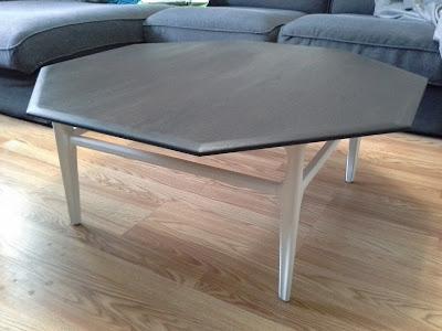 mid century modern octagonal white kona rustoleum stain coffee table