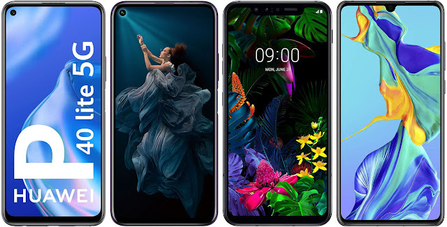 Huawei P40 Lite 5G vs Honor 20 Pro vs LG G8 Smart Green Thinq vs Huawei P30