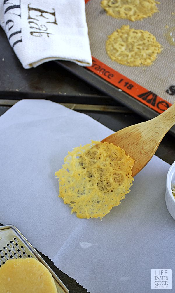 Parmesan Crisps | by Life Tastes Good are a delightful accompaniment to soup, and they also make a fun back-to-school treat for the lunch box. These tasty, slightly crispy rounds of fresh Parmesan cheese make an impressive presentation, yet the recipe is surprisingly simple!
