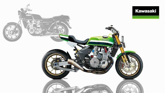 Reimagined Kawasaki Z1300 Six Cylinder Muscle-bike - Illustration by Achi 13
