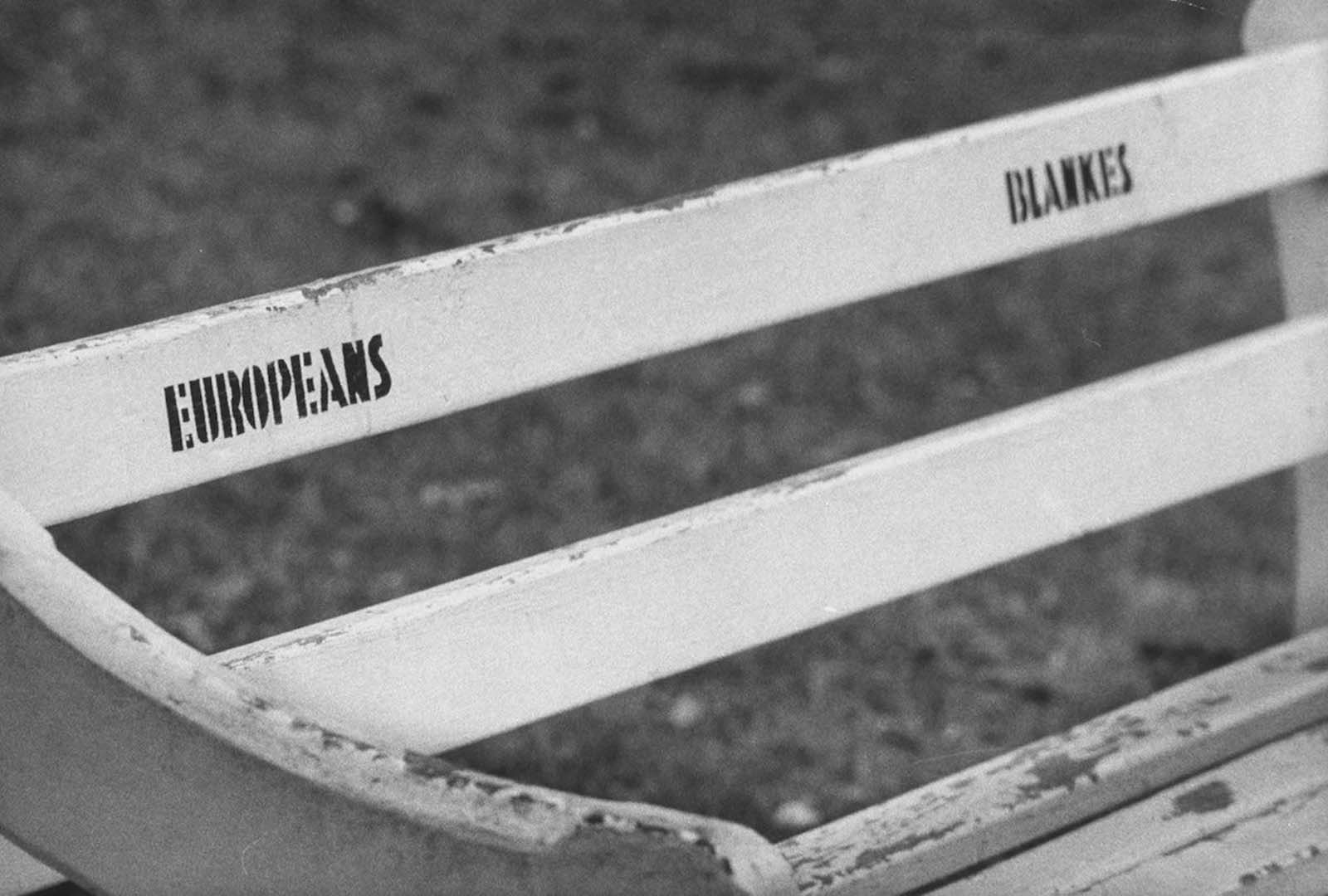 A bench in Albert Park, Durban. 1960.