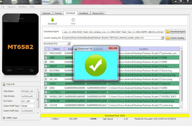 Cómo flashear Alcatel C7 con SP Flash Tool