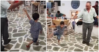 Ένας μικρός λεβέντης στην Αμοργό χορεύει υπέροχα μαζί με τον παππού του