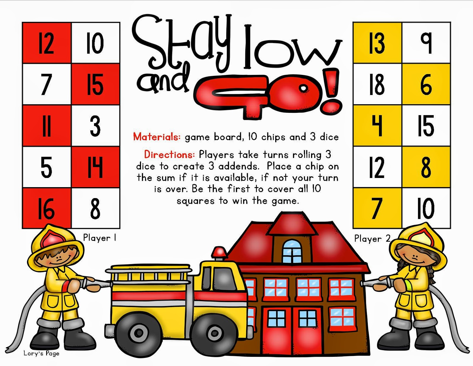 Lory S 2nd Grade Skills Stay Low And Go Game Board