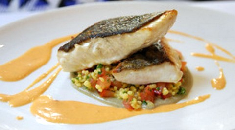 Delicious fish fillets with smoky eggplant puree