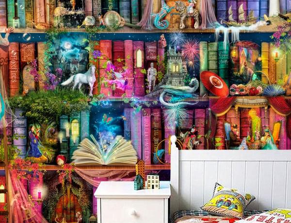 fantasia tapetti  kirjahylly Valokuvatapetti fantasia lompakko kirjahyllyt wallpaper kirjat kirja safe lapsuus nuoruus tappio girlhood tyttöystävä