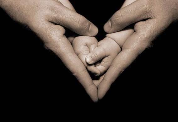 детские руки во взрослых руках в виде сердца