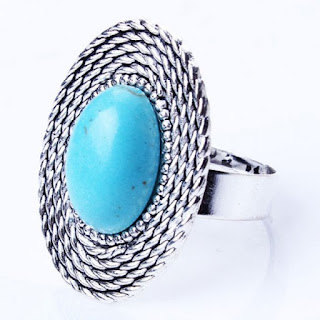 Retro Style Knitted Round Faux Turquoise Ring