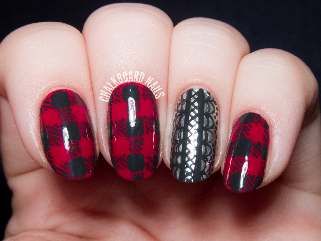 Flannel and Lace by @chalkboardnails