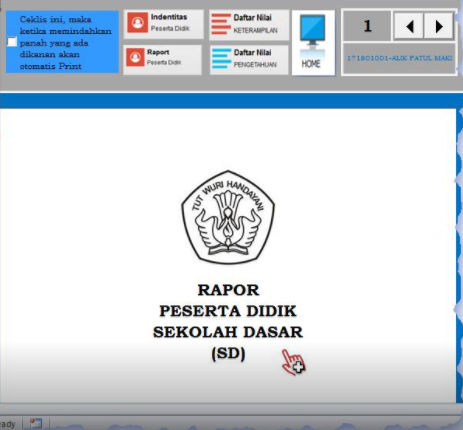 Cover Depan Rapor di Aplikasi Nilai Raport K-2013 SD