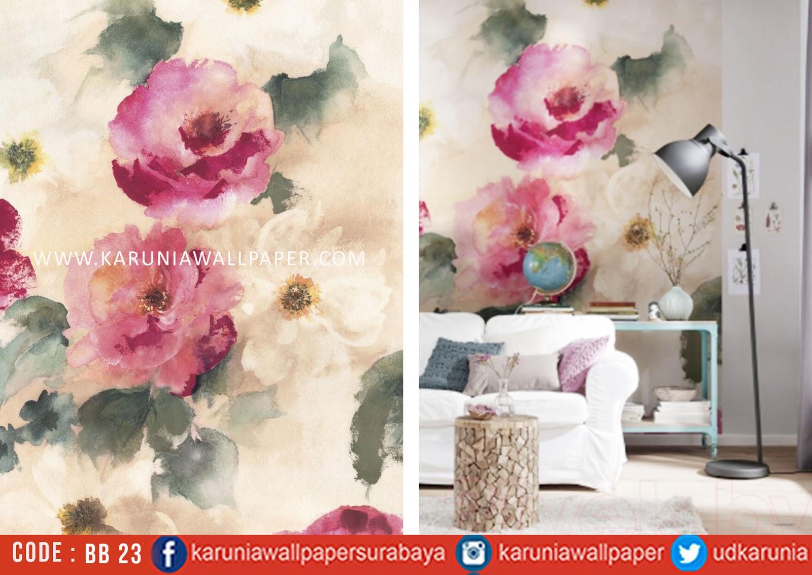 jual wallpaper dinding motif bunga