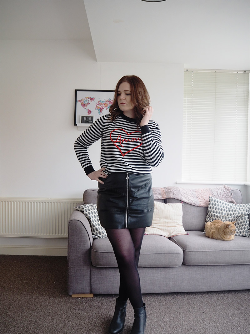 outfit post a line leather skirt stripey jumper outfit
