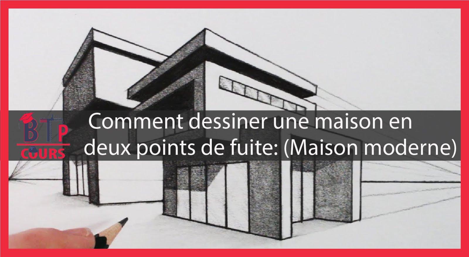 Cette vidéo vous apprend a dessiner une maison maison moderne en deux points de fuite maison moderne