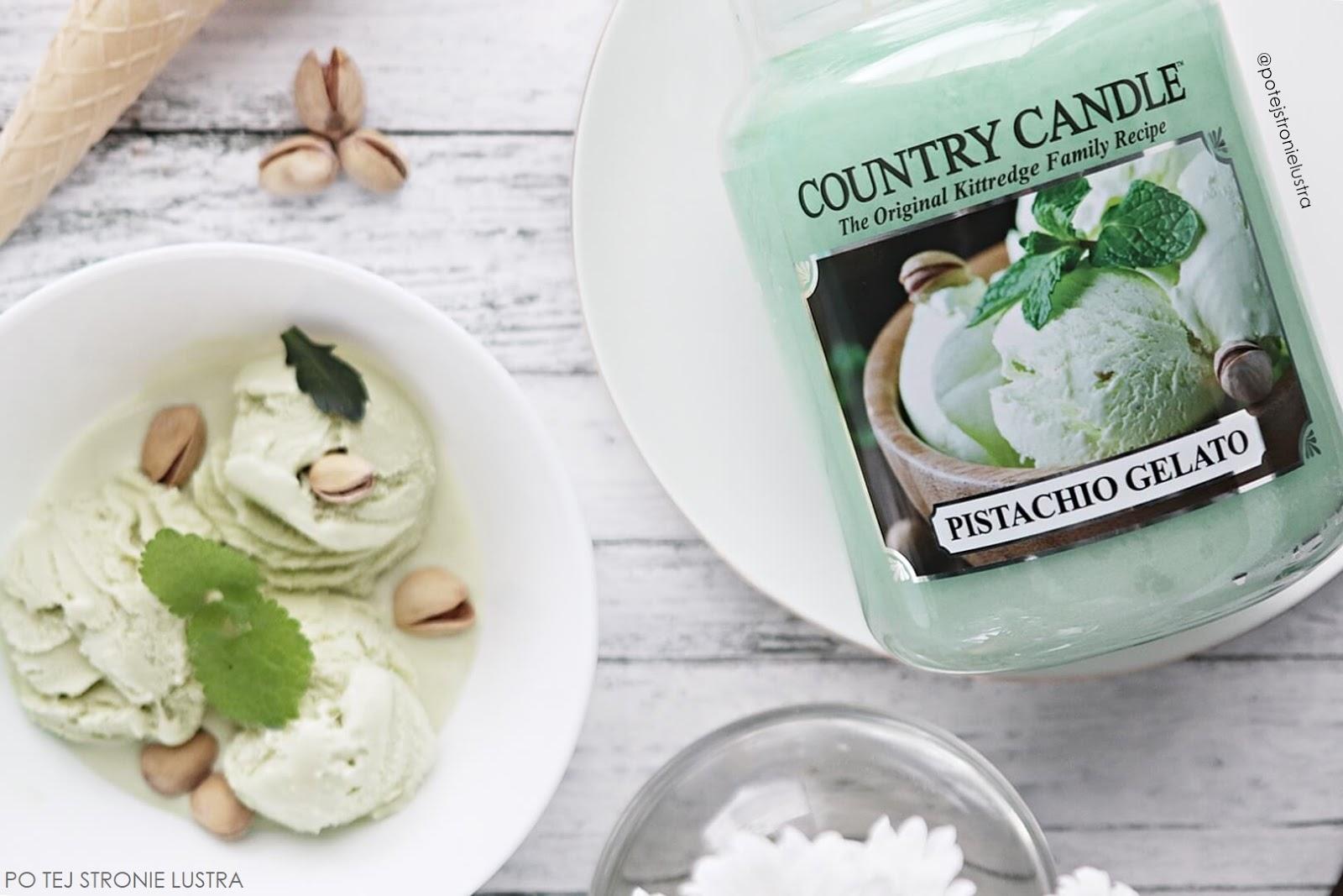 etykieta świecy country candle pistachio gelato