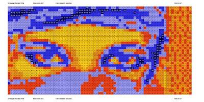 Pop Art Greeneyes mosaic portrait simulation - Bright.