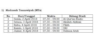 Jadwal UAMBN MTs dan MA Tahun 2018