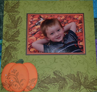 Scrapbook Sunday, scrapbook page, fall, autumn, Vintage Leaves, Everything Eleanor, Flowering Flourishes, Ovals Collection, Stampin Up, Trude Thoman, Pretty Pumpkin
