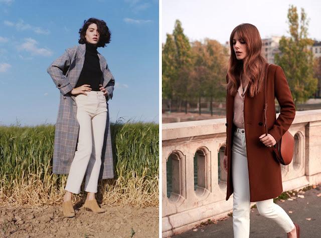 Девушки в пальто и белых брюках