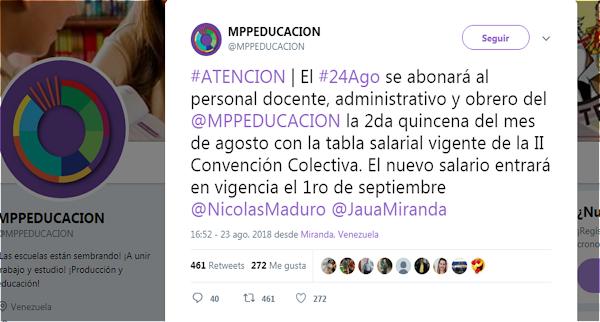 ATENCION | El #24Ago se abonará al personal docente, administrativo y obrero del @MPPEDUCACION la 2da quincena del mes de agosto con la tabla salarial vigente de la II Convención Colectiva