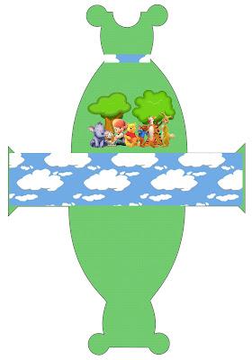 Cajita imprimible gratis con forma de vestido, de Winnie de Pooh y sus amigos.