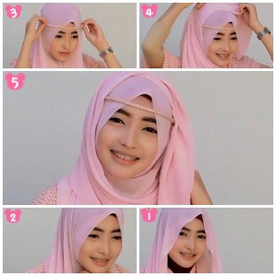 Gambar tutorial hijab segi empat