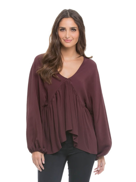 Dark Brown Blouse with Front Pleats -- Summer
