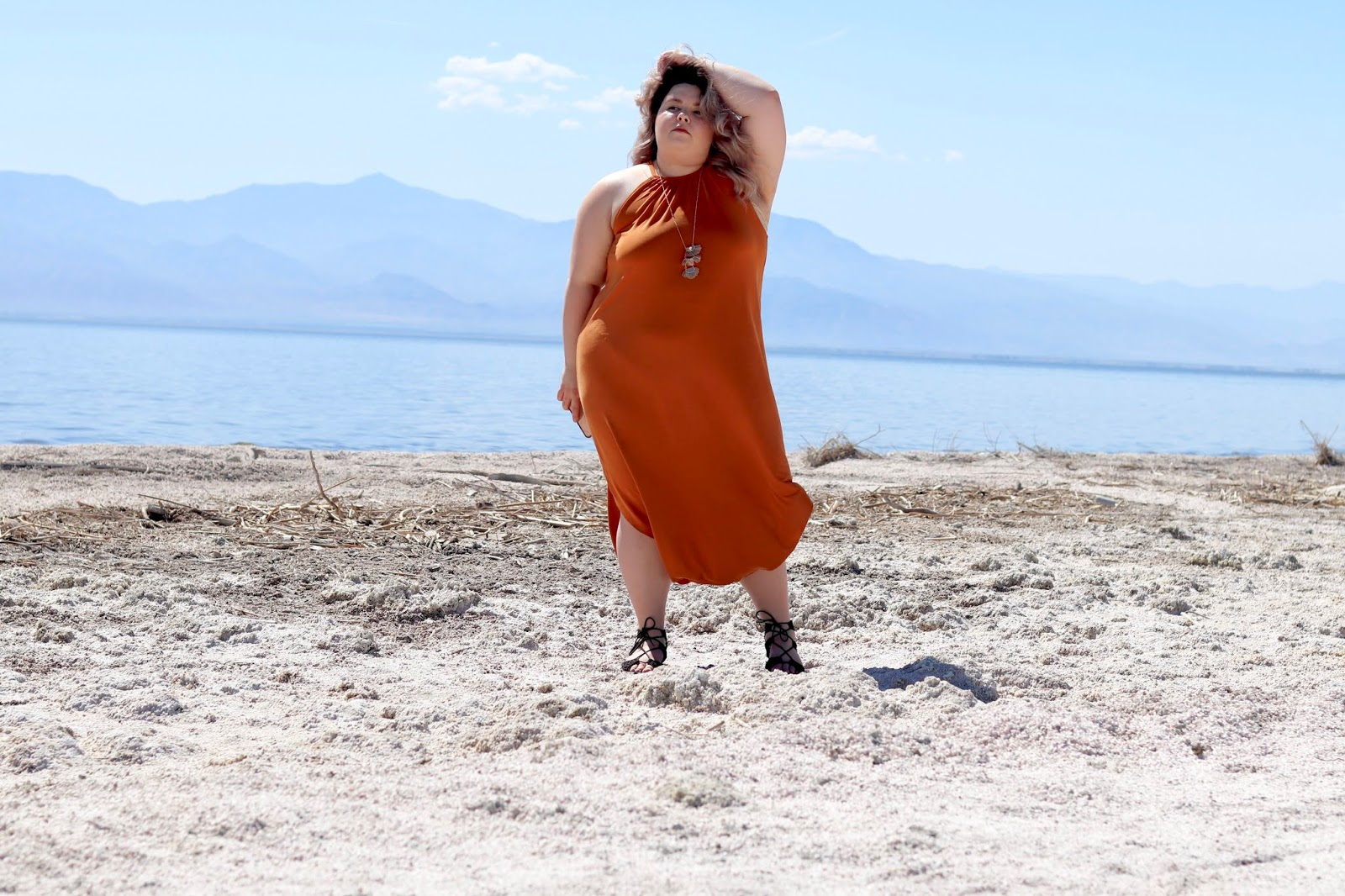 Chicago Plus Size Petite Fashion Blogger, YouTuber, and model Natalie Craig, of Natalie in the City, reviews Fashion Nova Curve's maxi dresses and visits palm springs and the salton sea.