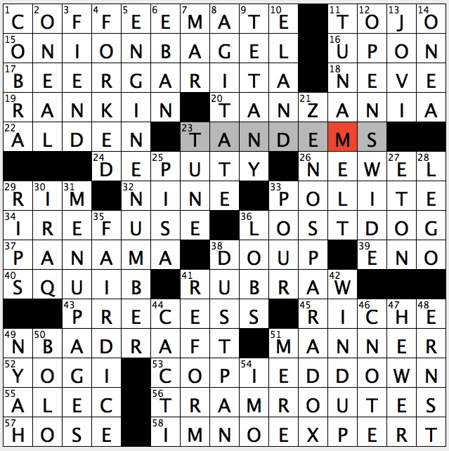 awesome Deli Tables Crossword Clue Part - 12: Saturday, April 7, 2018