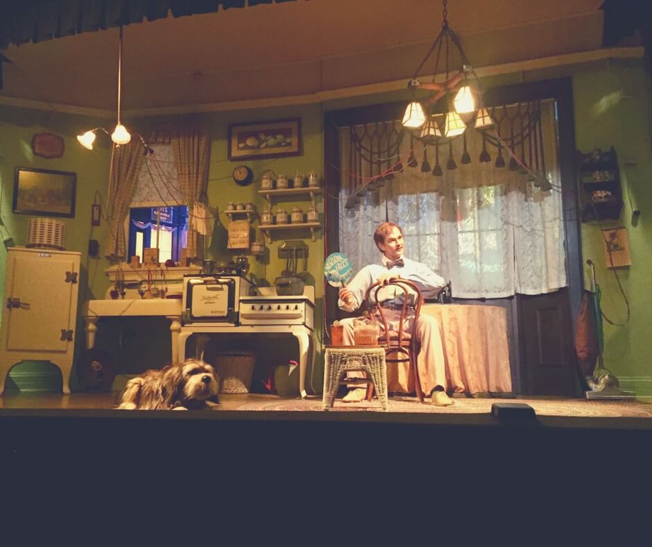 One of our favourite rides in Magic Kingdom is Carousel of Progress. Here the main character sits on a chair with his dog on the floor in front of him. He is sitting in a kitchen in the 1940s - wires trail from the lights to other places in the kitchen.