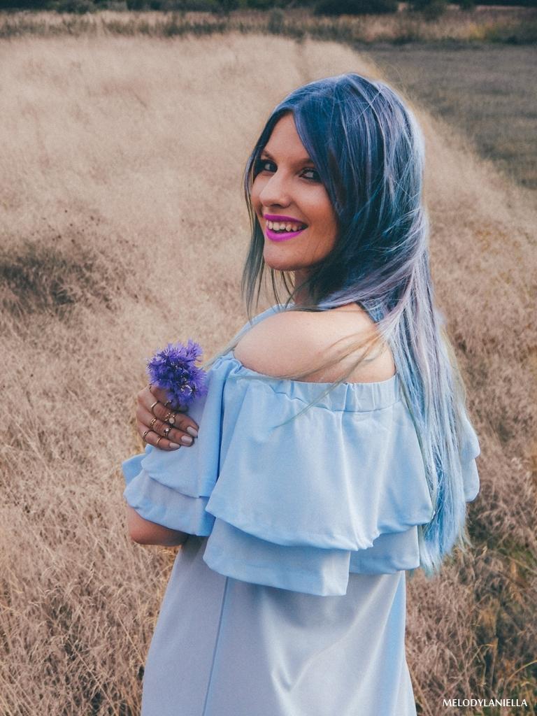 11 daniel wellington ootd lookbook fashion blogger modowe blogerki z łodzi melodylaniella blue hair niebieskie włosy baby blue hiszpanka venita błękitna sukienka stylizacja outfit modna polka pastel hair