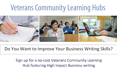 Header for event flier: Do You Want to Improve Your Business Writing Skills? Sign up for a no-cost Veterans Community Learning Hub featuring high-impact business writing at the East Valley Veterans Education Center (EVVEC).