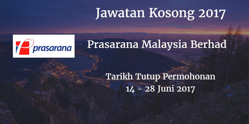 Jawatan Kosong Prasarana Malaysia Berhad 14 - 28 Juni 2017