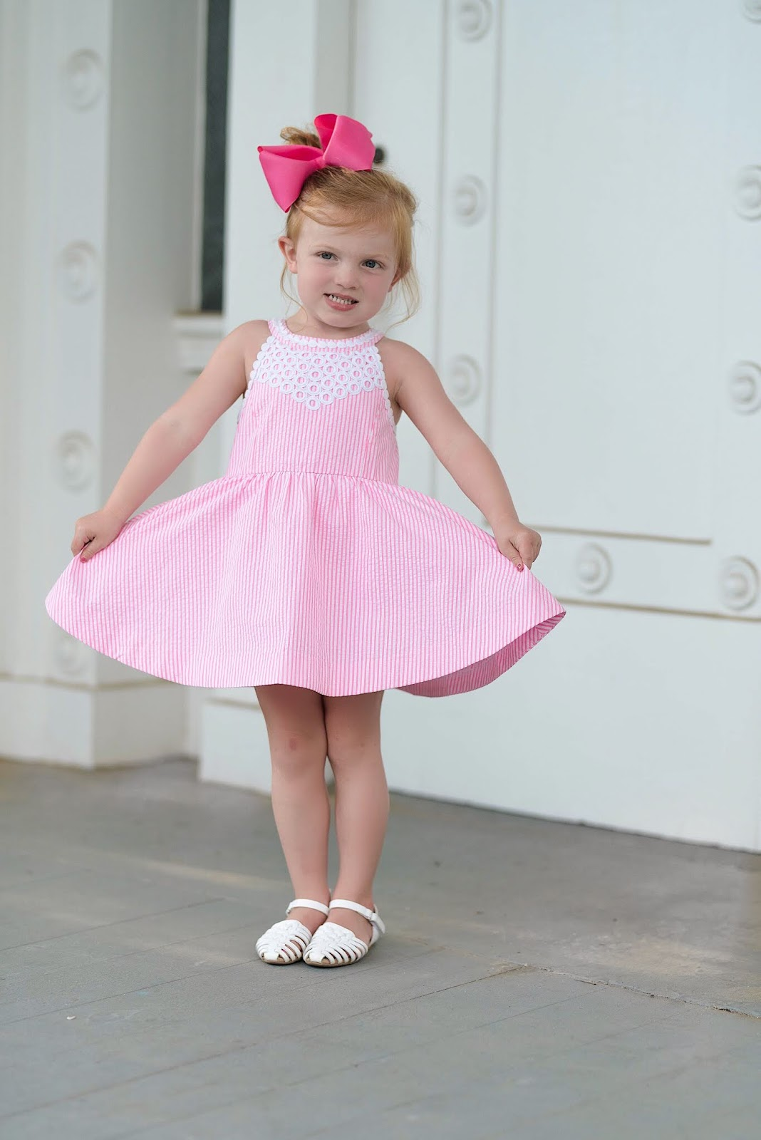 Lilly Pulitzer Girls Kinley Dress in Pink Cosmo Seersucker - Something Delightful Blog