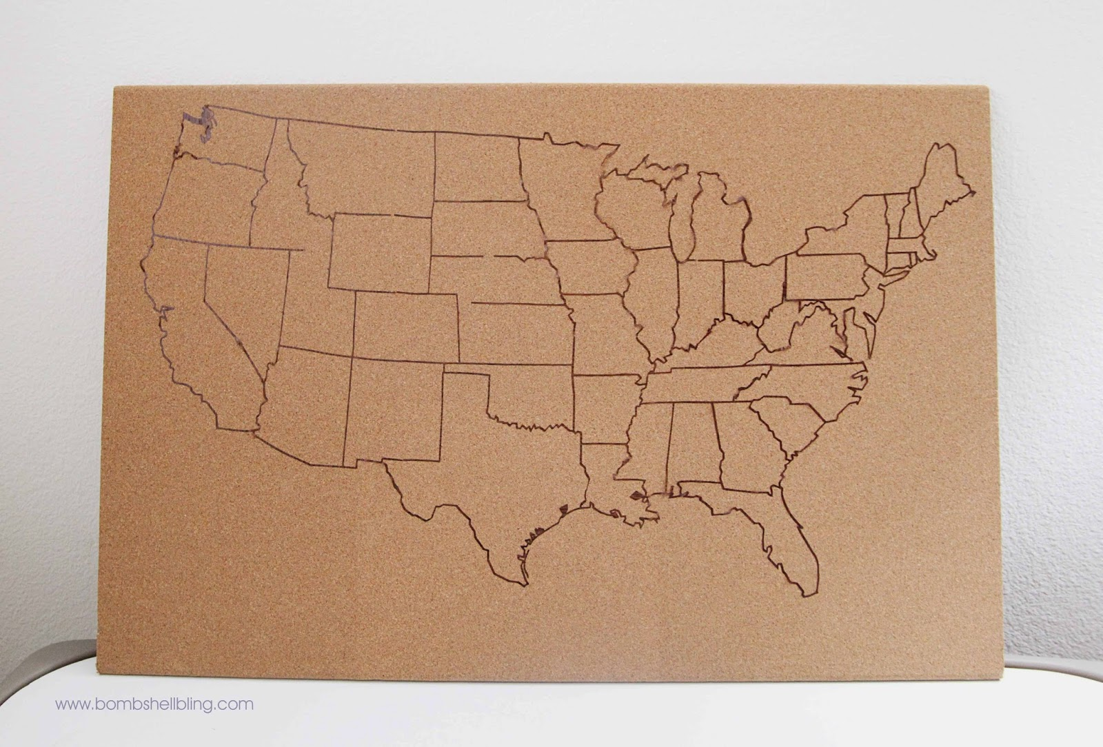 USA Cork Board Map - Us paper map