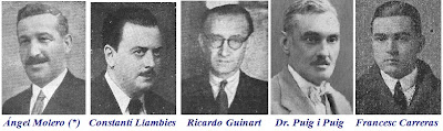 Angel Molero, Constanti Llambies, Ricardo Guinart, Dr Puig i Puig y Francesc Carreras
