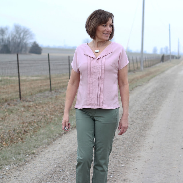 Liesl + Co Weekend Getaway Blouse with pleats