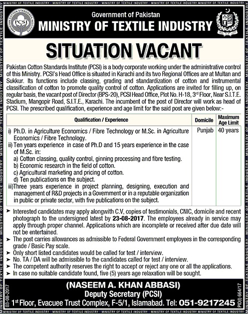Jobs In Ministry Of Textile Industry Karachi Aug 2017