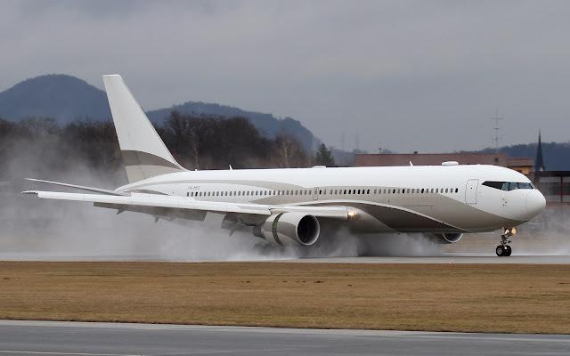 global jet luxembourg boeing 767-300er wet landing